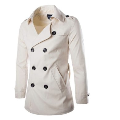 Pánský trenčkot Dvouřadý kabátek s kapsami a knoflíky