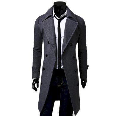 Elegantní pánský kabát dlouhý se zapínáním na knoflíky