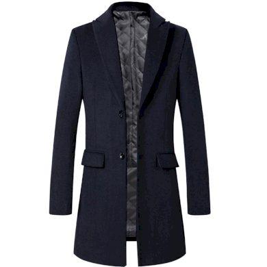 Dlouhý pánský kabát na knoflíky vlněný kabát s rozparkem