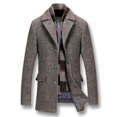 Elegantní pánský kabát s podšívkou a kapsami - odnímatelná šála