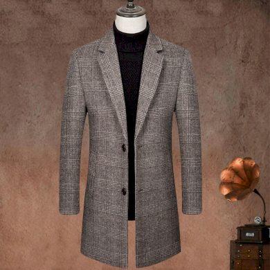 Teplý vlněný kabát pánský kostkovaný kabát vzor rybí kosti