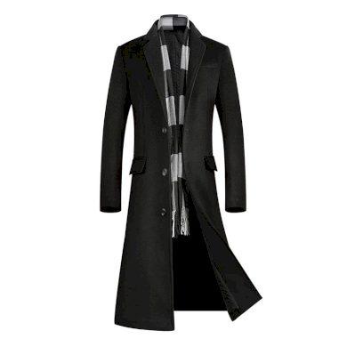 Douhý pánský kabát na knoflíky s kapsami vlněný kabát s podšívkou