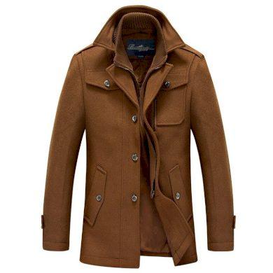 Vlněný kabát panský na knoflíky a na zip s odnímatelnou vestou
