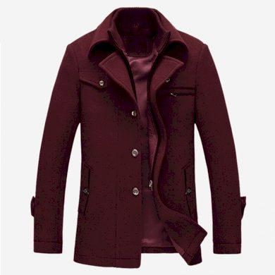 Vlněný pánský kabátek zimní s odímatelným rolákem na zip