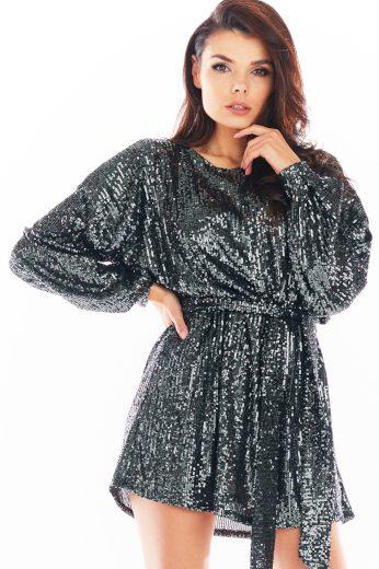 Třpytivé silvestovské šaty s flitry mini večerní šaty s dlouhým rukávem