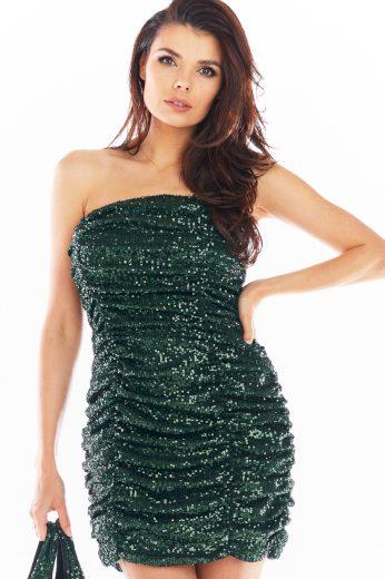Flitrové večerní šaty třpytivé mini šaty na párty s odhalenými rameny