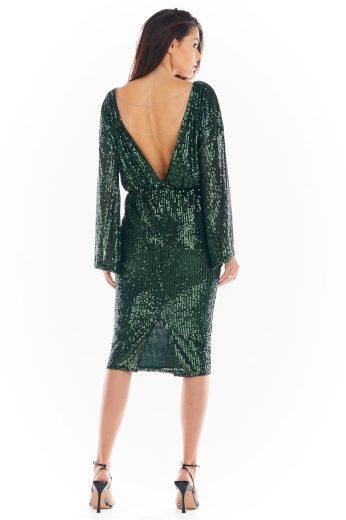 Flitrové třpytivé šaty midi večerní šaty s odhalenými zády
