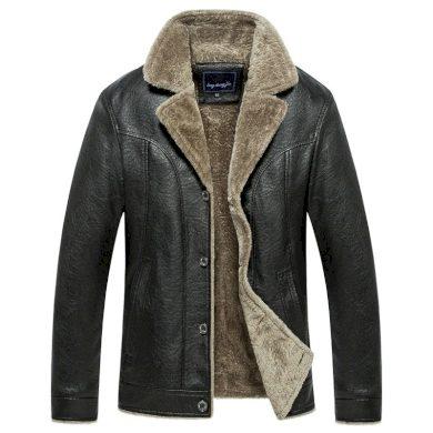 Teplá kožená bunda na knoflíky zimní kožený kabát s podšívkou