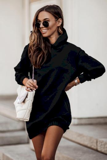 Oversize černé mikinové šaty s kapucí a dlouhým rukávem - XS/S