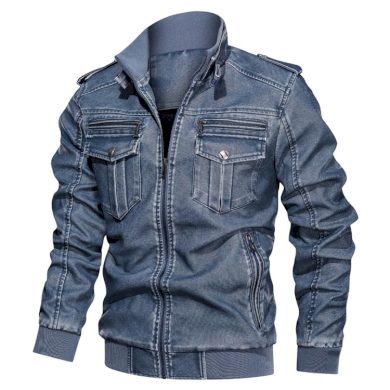 Motorkářská bunda z ekologické kůže pánská koženková bunda