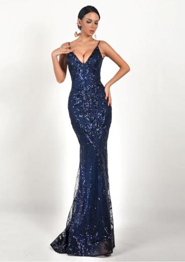 Společenské tmavě modré Šaty na ramínka třpytivé sexy šaty - L