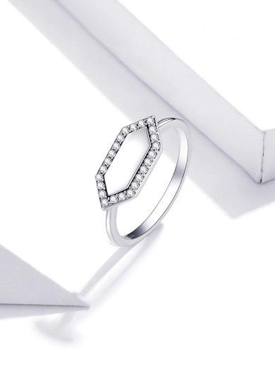 Nádherný stříbrný prsten třpytivý geometrický tvar