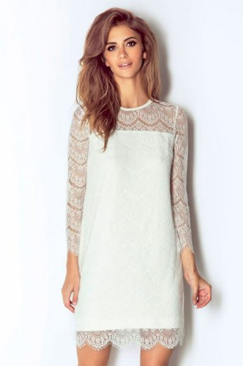 Romantické krajkové šaty bílé mini délka s dlouhým rukávem - L/XL
