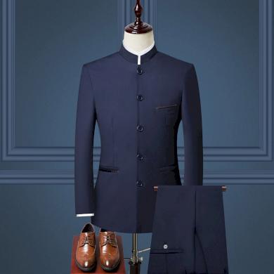 Pánský modrý oblek sako se stojáčkem a klasické kalhoty - VEL. XL