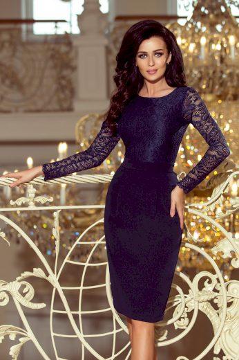 Krajkové modré šaty pouzdrové s dlouhým rukávem - VEL. L