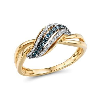 Masivní prsten propletené čáry s nádhernými modrými diamanty