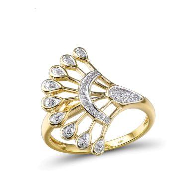 Nádherný masivní prsten se vzory a s čirými diamanty