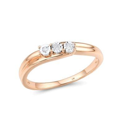 Elegantní snubní prsten pro dámy s 3 diamanty