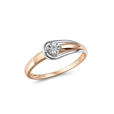 Dvoubarevný zásnubní prsten klasický s diamantem