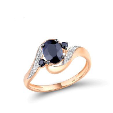 Zvlněný prsten masivní z růžového zlata s masivním safírem
