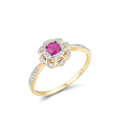 Jemný jarní prsten růžová květina s diamanty a rubínem