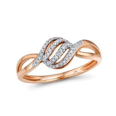 Klasický prsten zvlněný z růžového zlata zdobený diamanty