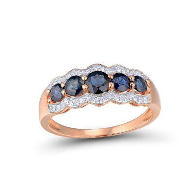 Masivní zlatý prsten ve vintážním stylu se safíry a diamanty
