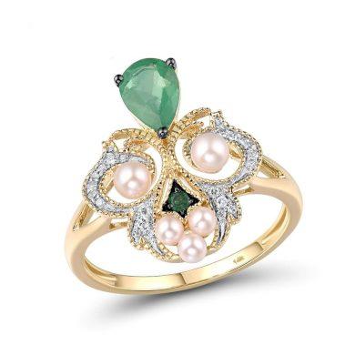 Vintážní prsten masivního vzhledu se vzory zdobený drahokamy