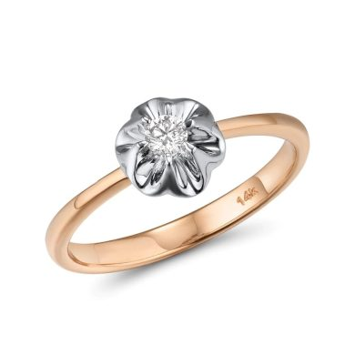 Dvoubarevný klasický prsten z pravého zlata s diamantem
