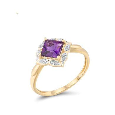 Nádherný zlatý prsten s masivním ametystem a třpytovými diamanty