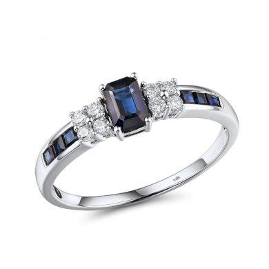 Vyjímečný prsten z bílého zlata zdobený diamanty a safíry