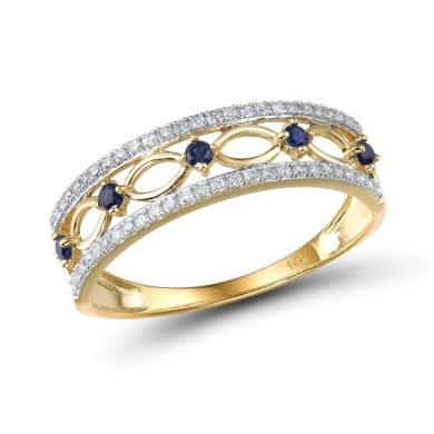 Dvojítý prsten se vzory ze žlutého zlata