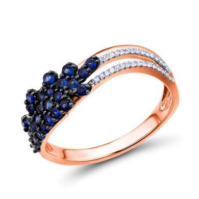 Nádherný dvojítý prsten z růžového zlata se safíry květovaného tvaru