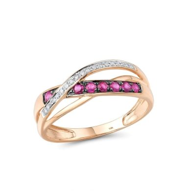 Nádherný trojitý prsten s propletením zdobený diamanty a rubíny