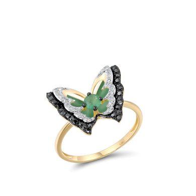 Vyjímečný prsten ze žlutého zlata s motýlkem