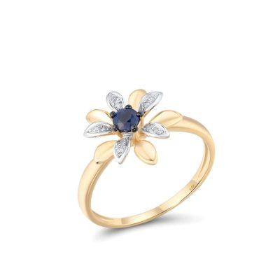 Prsten zlatý nádherná květina s drahokamy
