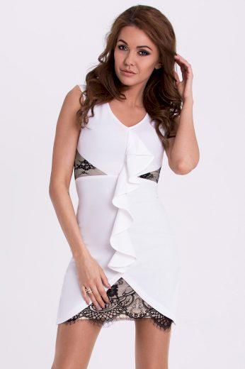 Společenské mini šaty bez rukávů s volánkem a krajkou