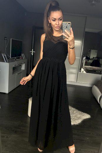 Společenské šaty dlouhé se síťovinou plesové šaty s perlami