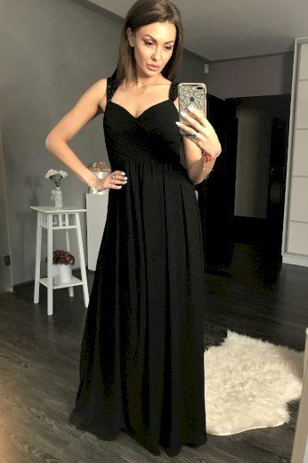 Plesové černé šaty dlouhé s kamínky na ramínkách