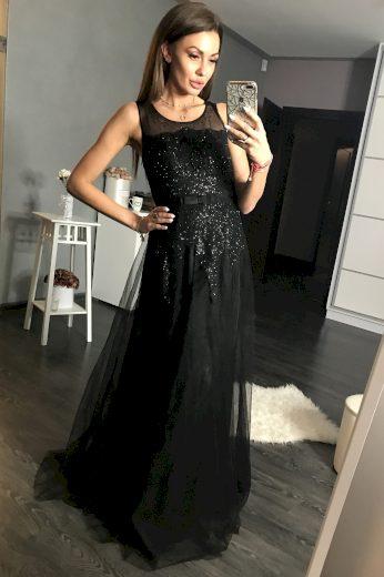 Černé dlouhé šaty plesové s třpytivými kamínky a síťovinou