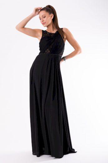 Společenské a plesové dlouhé šaty s perličkami černé