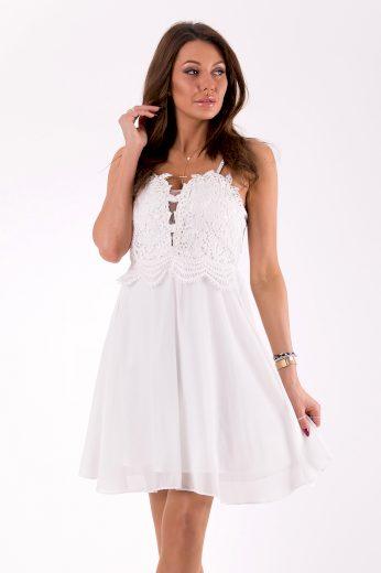 Společenské krátké šaty krajkové na ramínka s odhalenými zády