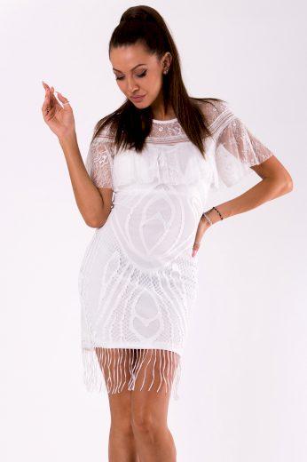 Mini průhledné šaty krajkové s třásněmi a volánkem