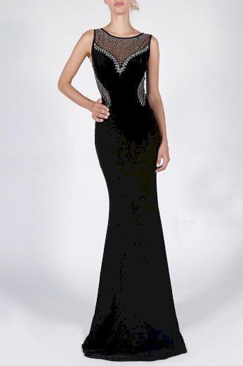 Černé plesové šaty dlouhé s průhlednou síťkou a kamínky