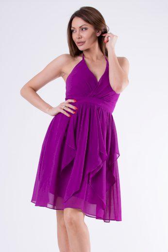 Midi volánkové letní šaty s vázáním za krk, šaty bez rukávů s holými zády