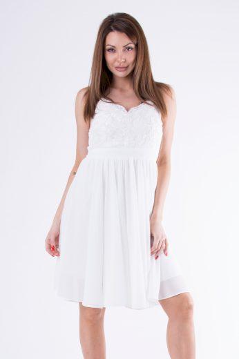Společenské šaty s krajkou na ramínka v midi délce