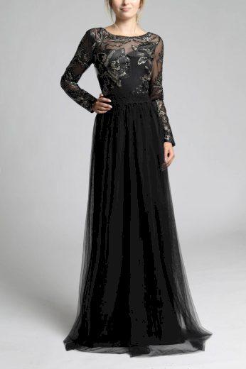 Společenské dlouhé šaty z tylu s krajkou