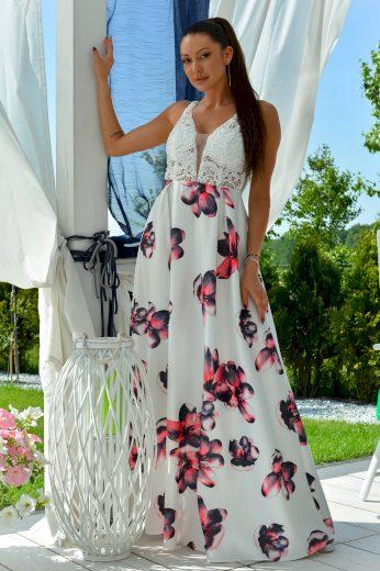 Dlouhé květované šaty společenské bez rukávů s krajkou