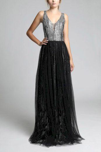 Dlouhé společenské šaty s flitry a tylovou sukní
