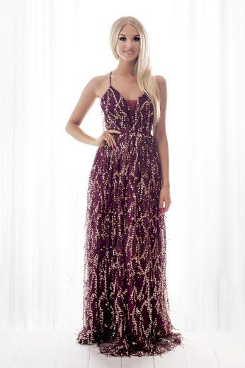 Dlouhé maxi flitrové šaty na ramínka překřížené na zádech